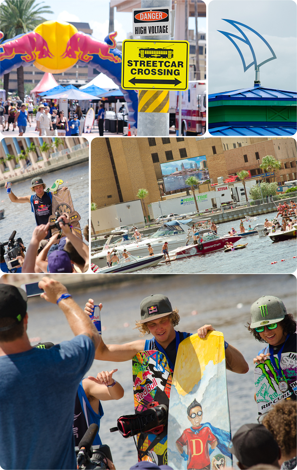 collage Red Bull Wake Open Tampa, crowd, Raphael Derome, streetcar crossing