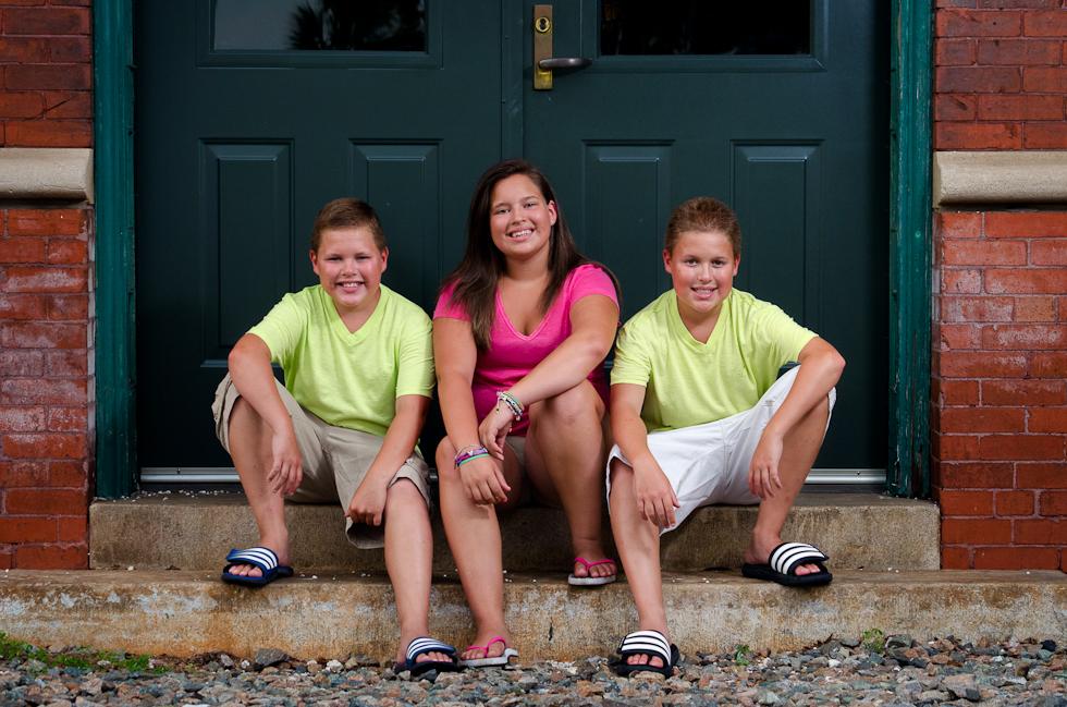 triplets on steps train depot Plant City