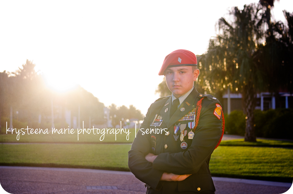 senior photo ROTC uniform morning light Plant City