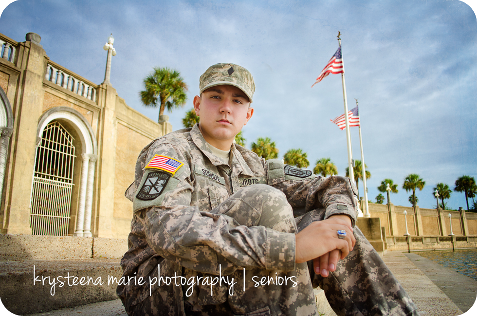 senior portrait guy ROTC uniform American flag
