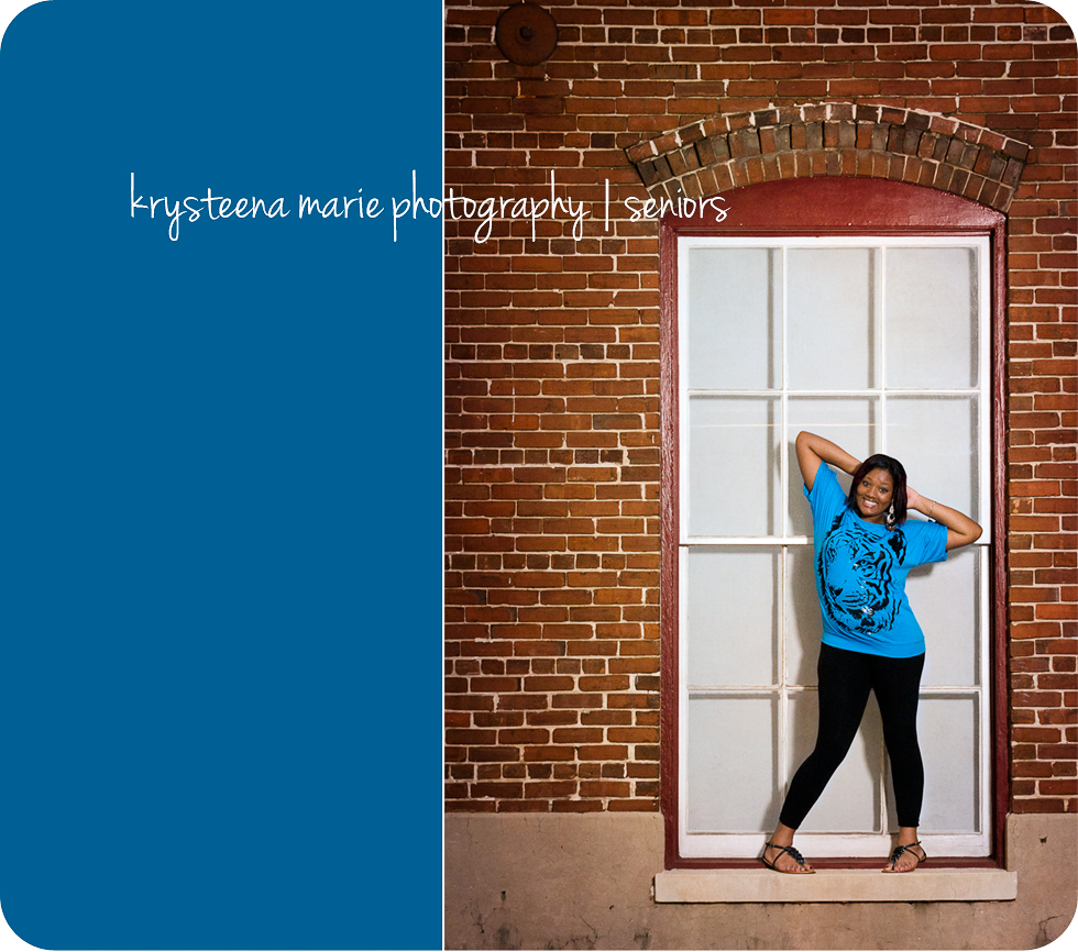 senior portraits girl in window brick wall blue shirt ybor city