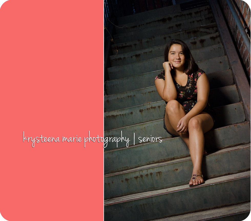 senior portrait Chelsea sitting on stairs Ybor