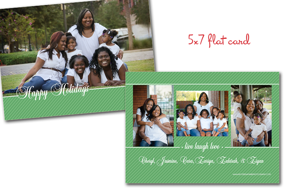 Custom holiday card Happy Holidays green 5x7 Plant City photographer