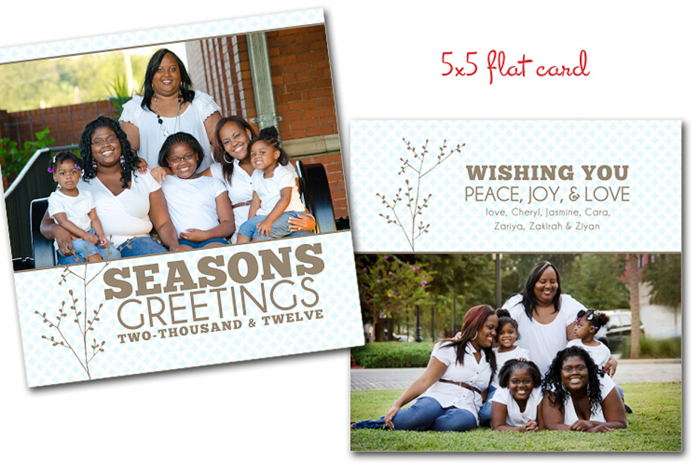 Custom Family holiday card seasons greetings square 5x5