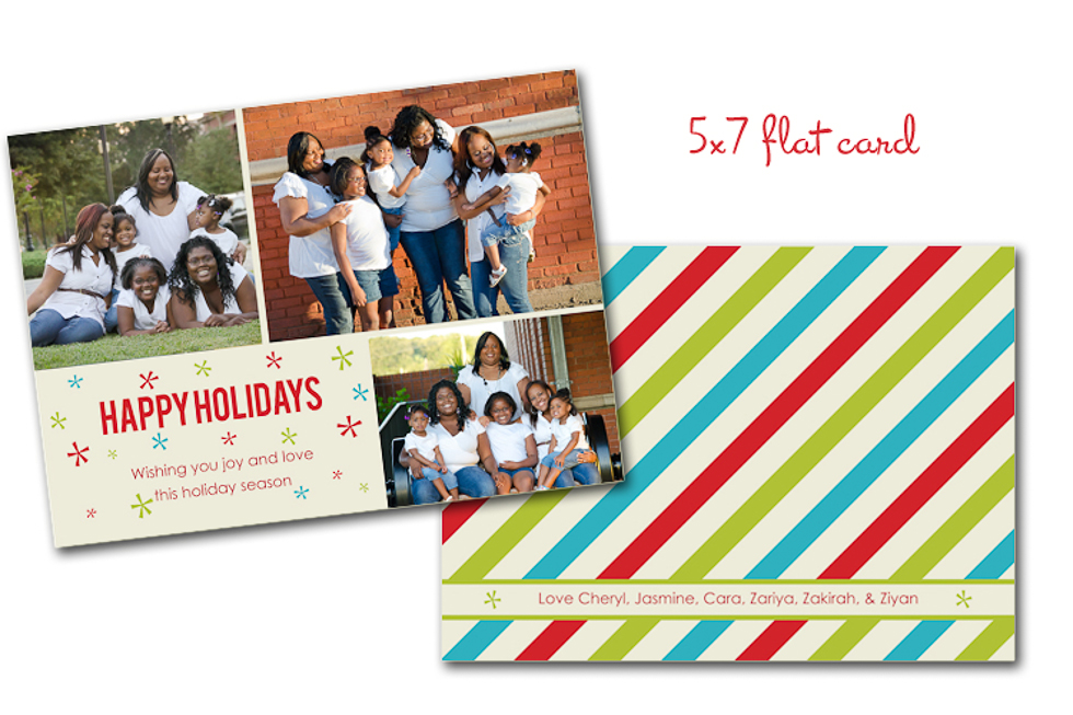 Happy Holidays custom card candy stripe Plant City Photographer