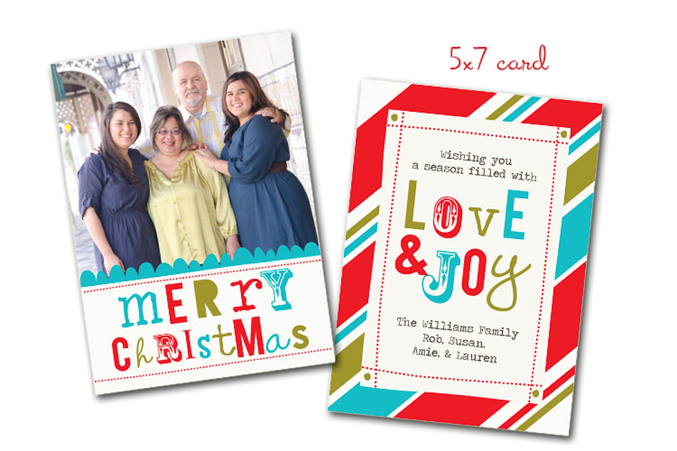 Custom Family Christmas Card Love and Joy 5x7 Plant City Photographer