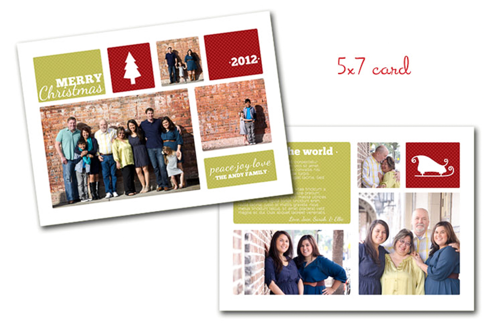 Custom Family Christmas Card 5x7 red and green Plant City Photographer