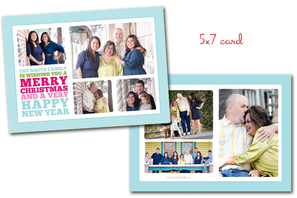 Custom Family Christmas Card Blue 5x7 Plant City Photographer