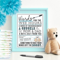 Words for the Wee Hours Blue Printable Baby Shower Game Instant Download Krysteena Marie Design