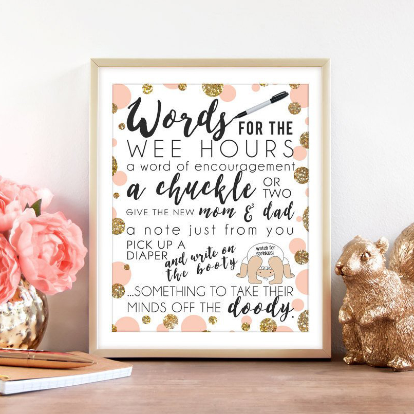 image regarding Words for the Wee Hours Free Printable titled Cost-free Printables Beth Kyles Tiny Person Little one Shower