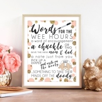 Words for the Wee Hours Coral & Gold Printable Baby Shower Game Instant Download Krysteena Marie Design