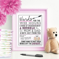 Words for the Wee Hours Pink Printable Baby Shower Game Instant Download Krysteena Marie Design