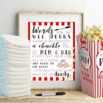 Words for the Wee Hours Printable Baby Shower Game Instant Download Popcorn Ready to Pop Krysteena Marie Design