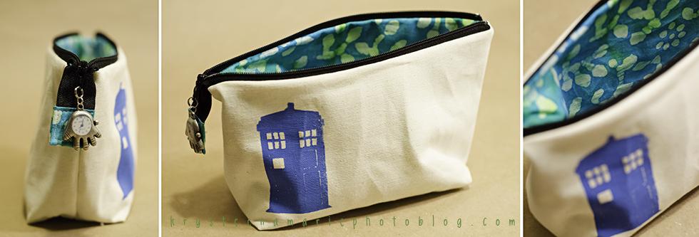 Doctor Who handmade tardis zipper pouch