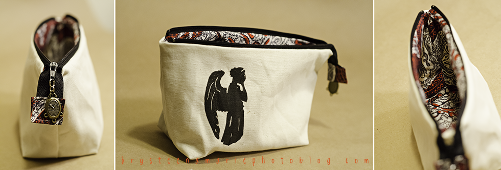 Doctor Who Weeping Angel zipper bag handmade
