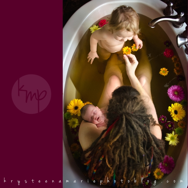 Krysteena Marie Photography | beautiful newborn session, herbal bath with mom and big sister