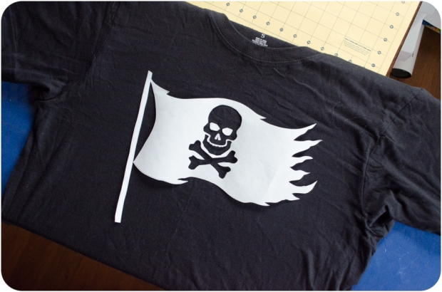 Jolly Roger pirate flag stencil on tee shirt for DIY bleach pirate tee shirt