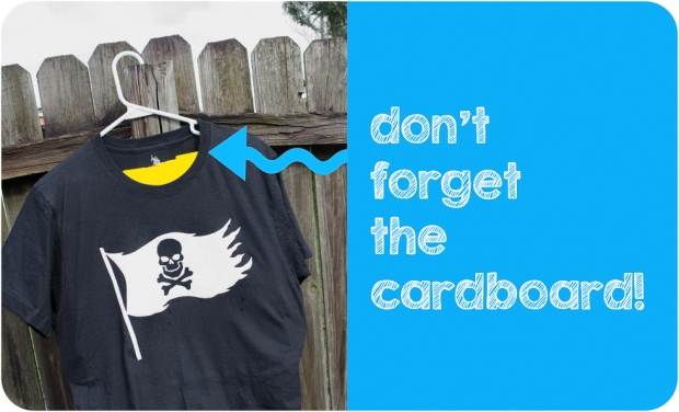 Black shirt prepped for bleach spray DIY Pirate shirt