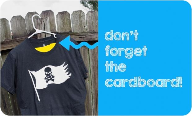 Black shirt prepped for bleach spray DIY Pirate shirt