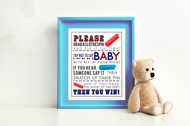 Red White & Blue clothespin game for baby shower framed with teddy bear